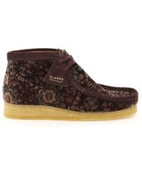 Clarks Wallabee Velvet Lace-up Boots - Brown