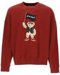 Palm Angels Pirate Bear Crewneck Sweatshirt M Cotton - Red