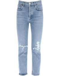 Agolde JEANS RILEY HIGH RISE STRAIGHT - Blu