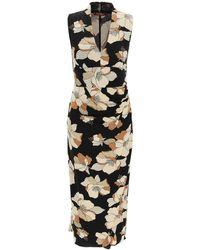 Max Mara Studio Floral Print Midi Dress - Black