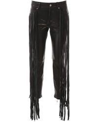 Golden Goose Deluxe Brand Fringed Leather Trousers - Black