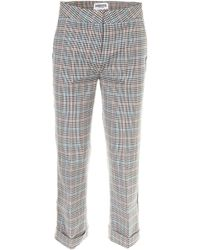 Essentiel - Cropped Check Trousers - Lyst