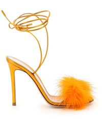 Gianvito Rossi Metal Nappa Sandals With Feathers - Metallic