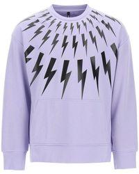 Neil Barrett Fair-isle Thunderbolt Crewneck Sweatshirt M Cotton - Purple
