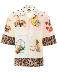 Dolce & Gabbana Pin Up And Leopard Print Shirt - Multicolour