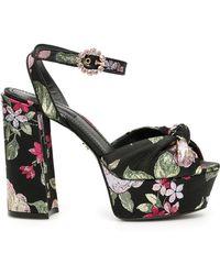 Dolce & Gabbana Floral Jacquard Keira Sandals - Black