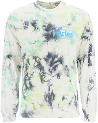Aries Tie-dye T-shirt With Logo Print - Blue