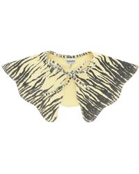 Ganni Zebra Print Oversized Collar Os Cotton - Multicolour