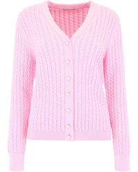 Alessandra Rich Cable Knit Cardigan - Pink
