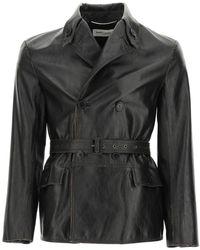 Saint Laurent Safari Jacket In Vintage Leather - Black