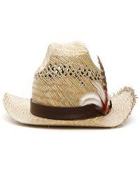 Saint Laurent Feather-embellishment Hat - Natural