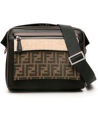 Fendi Ff Messenger Bag With Pouch - Black