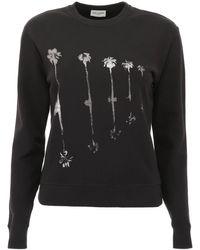 Saint Laurent Sweatshirt With Palms Print - Black
