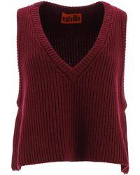Colville Virgin Wool Knit Vest M Wool - Red