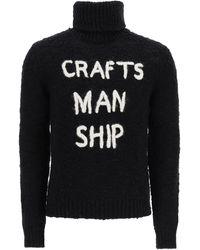 Dolce & Gabbana Turtleneck Jumper Craftsmanship Embroidery 46 Wool - Black