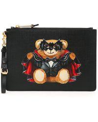 Moschino Bat Teddy Bear Pouch - Black
