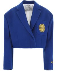 CALVIN KLEIN 205W39NYC Motif Embroidered Cropped Blazer - Blue