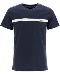 A.P.C. Yukata T-shirt With Logo Embroidery - Blue