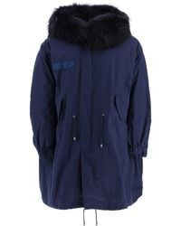 Mr & Mrs Italy M51 Long Parka With Murmasky Fur - Blue