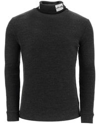 Raf Simons Turtleneck Sweater With Patches - Gray