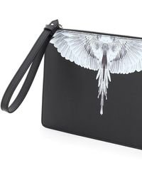 Marcelo Burlon Pouch With Wings Print Os Leather - Black