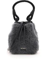 Max Mara Eco Shearling Mini Bucket Bag - Grey