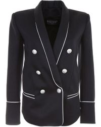Balmain - Double-breasted Blazer With Piping - Lyst
