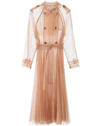 RED Valentino Plumetis Tulle Long Trench - Natural