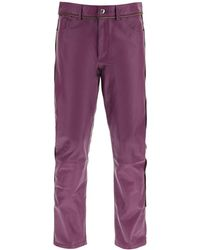 Youths in Balaclava Leather Trousers With Zip - Purple