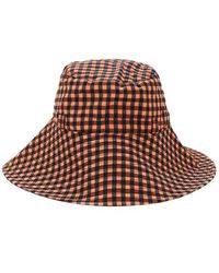 Ganni Seersucker Check Bucket Hat - Brown