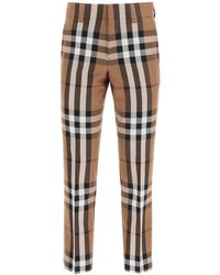 Burberry PANTALONI IN LANA HOUSE CHECK - Marrone