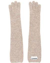 Ganni Long Knit Gloves - Natural