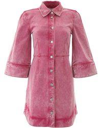 Ganni Washed Denim Dress - Pink