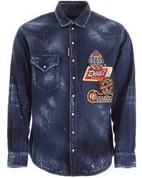 DSquared² Multi-patch Denim Shirt - Blue