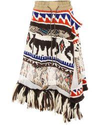 Sacai Aztec Skirt With Fringes - Multicolour