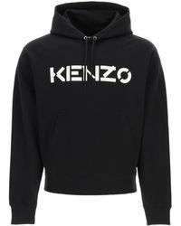 KENZO Hooded Sweatshirt With Logo Print - Black