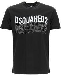 DSquared² T-SHIRT STAMPA MULTILOGO - Nero