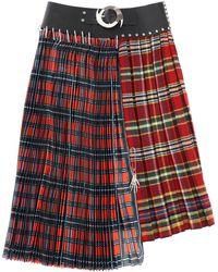 Chopova Lowena Nylon Check Midi Skirt - Red