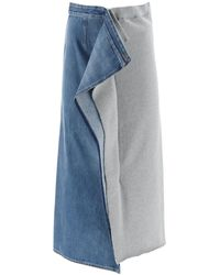 MM6 by Maison Martin Margiela Bi-material Skirt - Blue