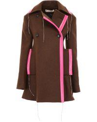 Marni Bicolor Coat - Brown