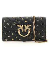 Pinko Love Wallet Clutch With Chain Os Leather - Black