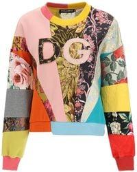 Dolce & Gabbana Patchwork Sweatshirt Dg Embroidery 38 Cotton - Multicolor