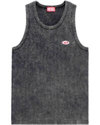 DIESEL Fashion Show Ribbed Tank Top S Cotton - Grey