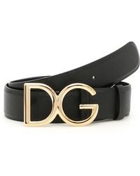 Dolce & Gabbana - 30mm Dg Leather Belt - Lyst