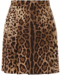Dolce & Gabbana Leopard-printed Mini Skirt - Brown