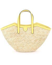 Mark Cross Madeline Straw Basket Bag Os Leather - Multicolour