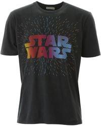 Etro Gray Cotton-yersey Crewneck T-shirt With Front 'stars Wars'-print