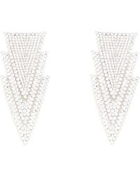 Alessandra Rich Crystal Three Triangles Earrings - Metallic