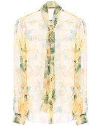 Dolce & Gabbana Chiffon Shirt With Camelie Print - Yellow