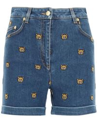 Moschino Denim Shorts With Embroidered Teddy Bear - Blue